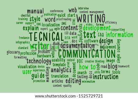 Technical writing word cloud. Techical writer or communicator, documentation, profession concept in trendy mint color. Illustration.