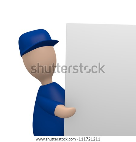 Technician holding a blank board with space for text