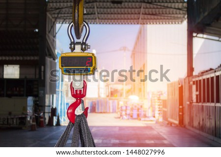 Technician set Industrial digital scales use weight check in factory and overhead crane  Сток-фото ©