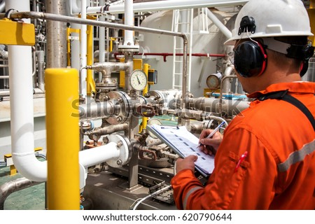 Technician,technician in oil and gas refinery industrial in the job record morning data