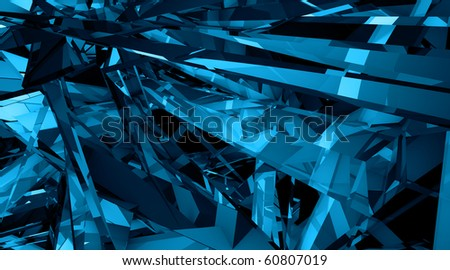 Techno fantasies Abstract 3d illustration in garish blue and black
