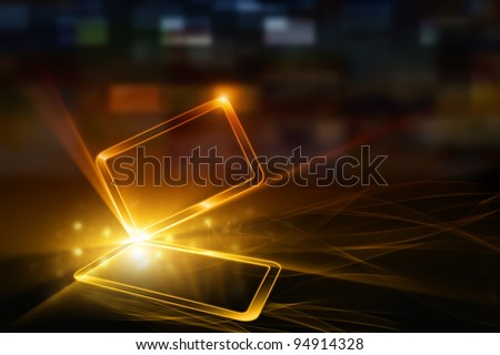 Technological background - abstract mobile device with transparent touch-sensitive screen. Overheating problem.