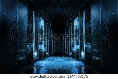 technological background on servers in data center, futuristic design. Server room represented by several server racks with strong dramatic light. #1144708175