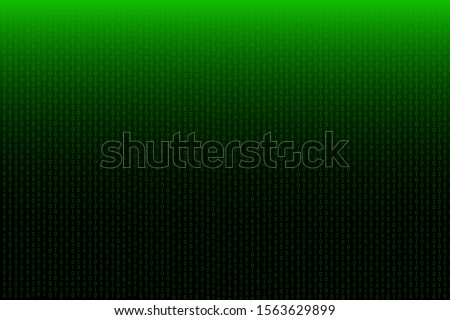 Technological binary code on green and black background.Technology and digital concept.Illustration.