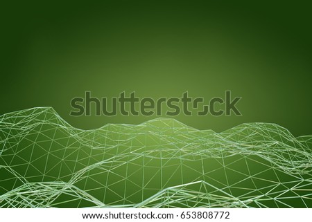 Technological connection futuristic shape, green dot network, abstract background, 3D rendering #653808772