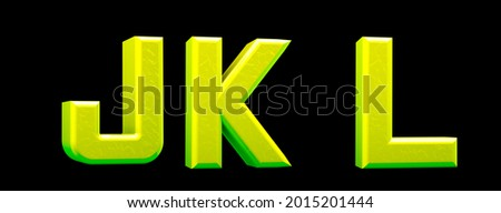 Technological green alphabet. Letters J, K, L in 3d render.  Stock fotó ©