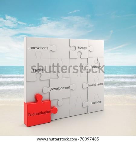 Technologies puzzle concept. 3d and photo montage