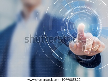 Technology abstract background with person hand touching complex circular diagram on virtual screen with copy-space, innovation, network, big data and internet concept - Shutterstock ID 1099085822