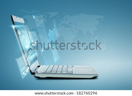 technology and advertisement concept - laptop computer with chart and graphs on screen #182760296