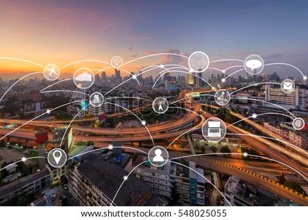 technology and communication icon over cityscape,network and connection concept