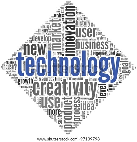 Technology and creativity concept in word tag cloud on white