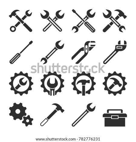 Technology and maintenance service tools icons. Repair service icon, illustation of maintenance setting