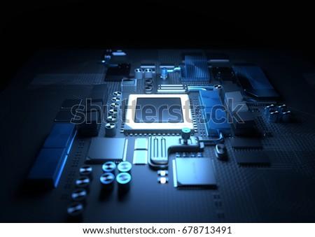 Technology background. A glowing CPU on a motherboard. 3D illustration render.