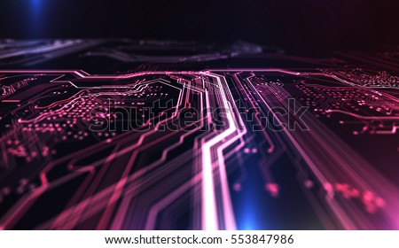 Technology background red and blue color, circuit board and code. 3d Illustration/Technology background PCB and code. 3d Illustration