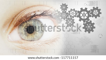 technology background with beautiful eye