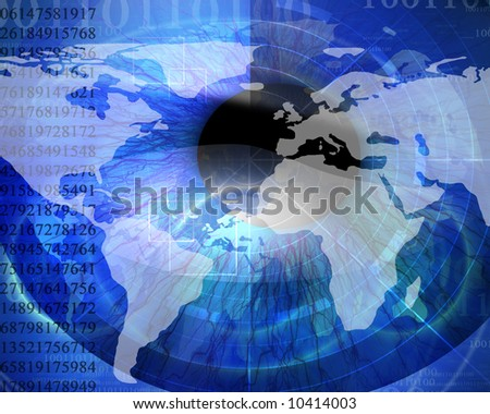 Technology background with iris being scanned and faint digital globe