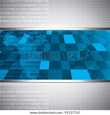 Technology blue background and binary code