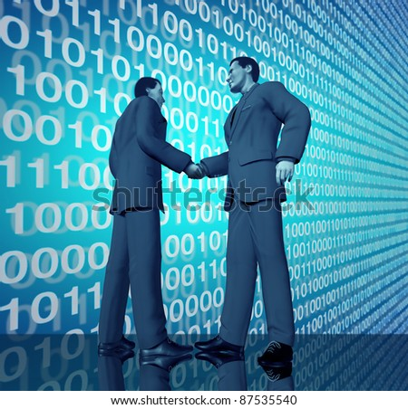 Technology business deal with a handshake between two businessmen with blue binary digital code in the background negotiating a contract agreement in the world of high tech and computers.