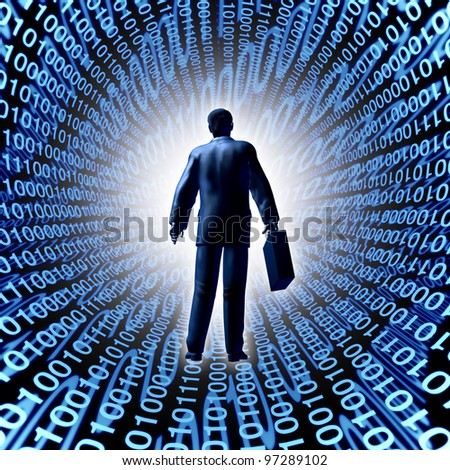 Technology business with a man and briefcase entering a binary code cyber company in silicon valley or digital market as a computing electronics and futuristic data storage concept.