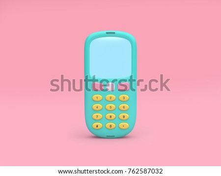technology concept green mobile phone cartoon style minimal pink background 3d rendering