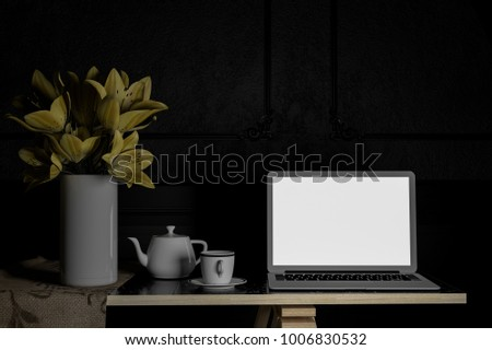 technology concept .labtop on table .dark tone.3d rendering. 3d illustration.minimal style