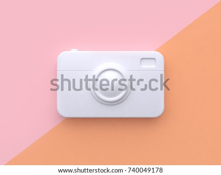 technology concept white abstract camera minimal pink orange tilted background 3d rendering
