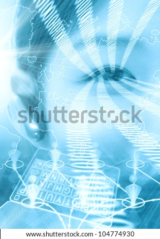 Technology concept with businesswoman