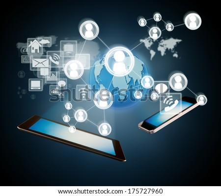Technology concept with smart phone and tablet and virtual icons around