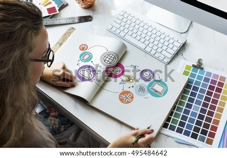 Technology Connection Digital Global Communication Icon Concept - Shutterstock ID 495484642