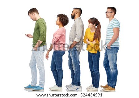 technology, ethnicity and people concept - international group of men and women in queue line with smartphone over white Photo stock ©