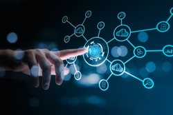 Technology fingerprint scan provides security. digital transformation change management,new technology big data and business process strategy, automate operation, customer service management.