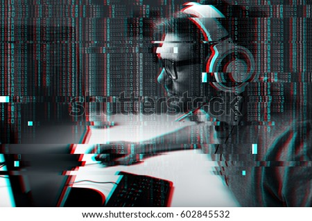 technology, gaming, entertainment and people concept - young man in headset and glasses with pc computer playing game at home and streaming playthrough or walkthrough video over glitch effect