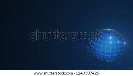 Technology globe Network world connection with polygonal grid Data digital 3d illustration Connection dots. 3d stock illustration background Copyspace