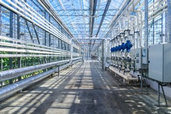 Technology greenhouses with blue sky