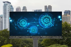 Technology hologram on billboard over panorama city view of Bangkok. The largest tech hub in Southeast Asia. The concept of developing coding and high-tech science.