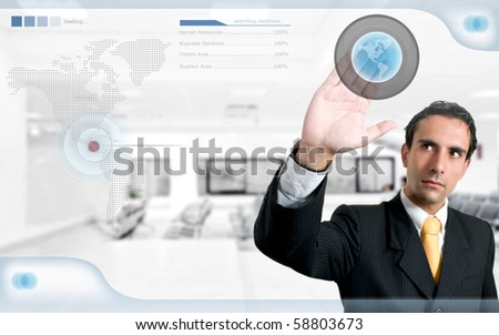 technology / human resources concept: successful man searching on digital screen