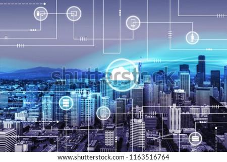 Technology illustration on city background #1163516764