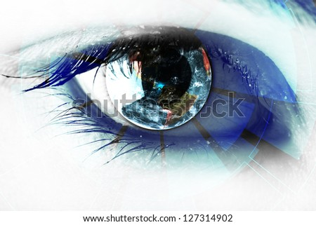 technology in the eye - technology concept