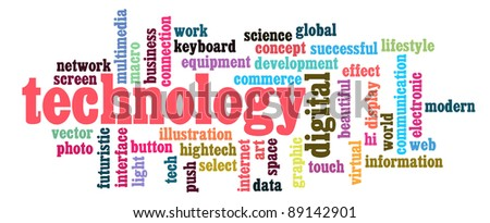 technology info-text graphics and arrangement concept on black background (word clouds)