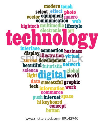technology info-text graphics and arrangement concept on black background (word clouds) - stock photo