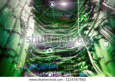 Technology infrastructure cloud computing and communication. Internet concept. #1226587882