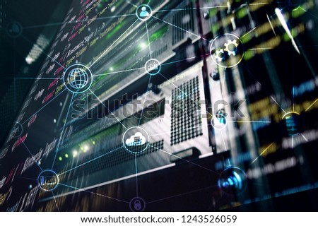 Technology infrastructure cloud computing and communication. Internet concept. #1243526059