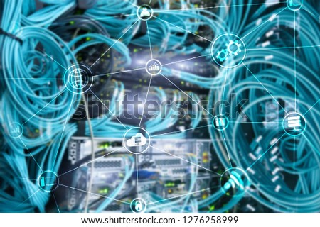 Technology infrastructure cloud computing and communication. Internet concept. #1276258999