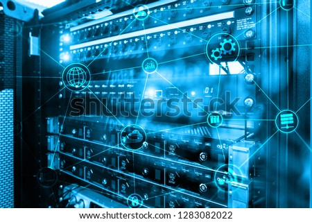 Technology infrastructure cloud computing and communication. Internet concept #1283082022