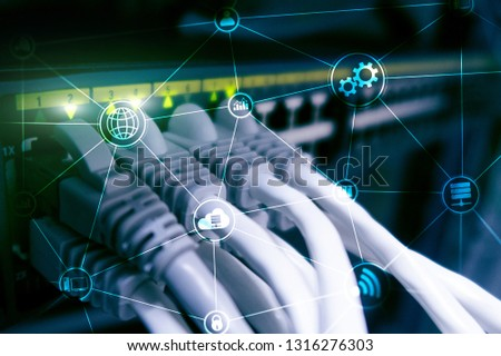 Technology infrastructure cloud computing and communication. Internet concept. #1316276303