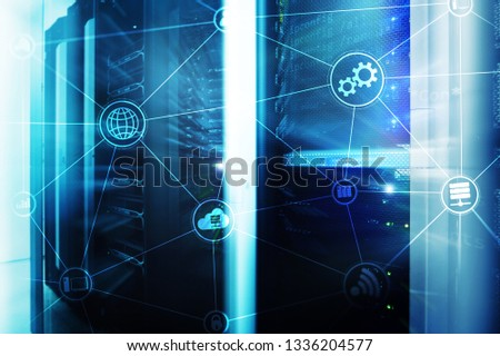 Technology infrastructure cloud computing and communication. Internet concept #1336204577