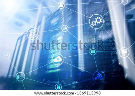 Technology infrastructure cloud computing and communication. Internet concept #1369113998
