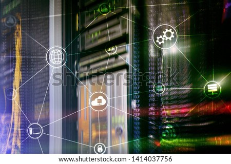 Technology infrastructure cloud computing and communication. Internet concept. #1414037756