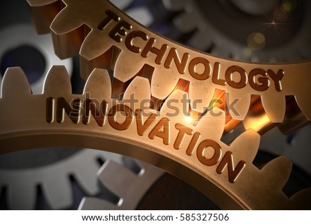 Technology Innovation - Technical Design. Technology Innovation on Mechanism of Golden Gears with Glow Effect. 3D Rendering.