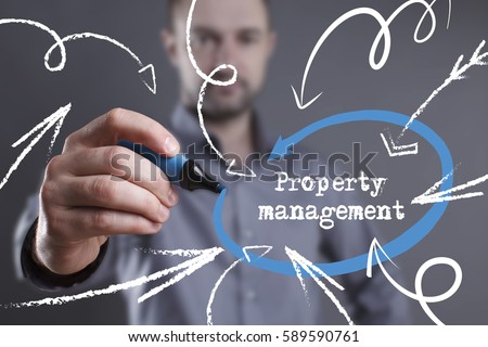Technology, internet, business and marketing. Young business man writing word: Property management #589590761